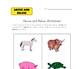 above below worksheet animals