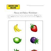above below worksheet fruit