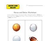 above below worksheet sports