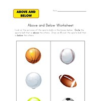 Above and Below Worksheets | All Kids Network