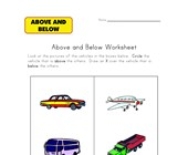 above below worksheet vehicles