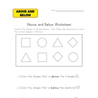 below and above worksheet