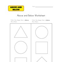 learn above and below worksheet