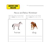 animals above and below worksheet