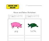 animal above and below worksheet