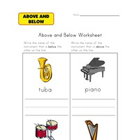musical above and below worksheet