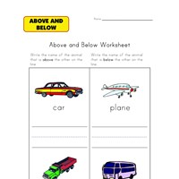 vehicles above and below worksheet