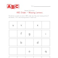 abc order missing letters worksheet
