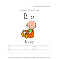 alphabet tracing letter b page
