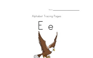 alphabet tracing letter e page