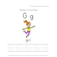 alphabet tracing letter g page