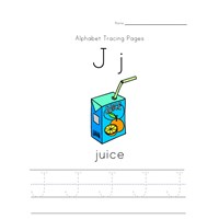 alphabet tracing letter j page