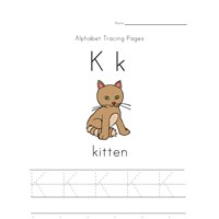 alphabet tracing letter k page