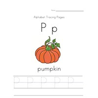 alphabet tracing letter p page