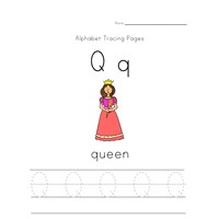 alphabet tracing letter q page