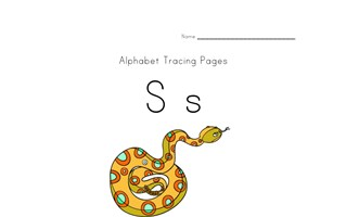 alphabet tracing letter s page
