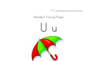 alphabet tracing letter u page