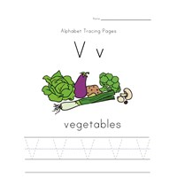 alphabet tracing letter v page
