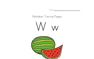 alphabet tracing letter w page