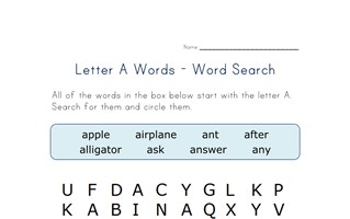 letter a word search
