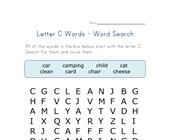 letter c word search