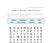 letter e word search