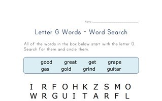 letter g word search