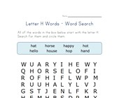 letter h word search