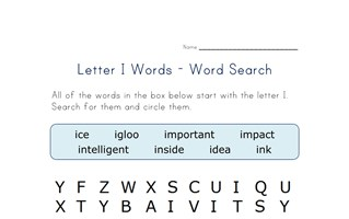 letter i word search