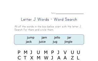 letter j word search