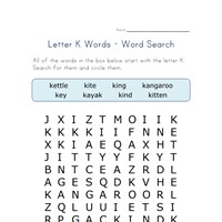 letter k word search