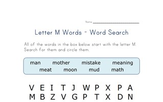 letter m word search