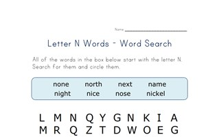 letter n word search