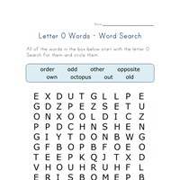 letter o word search