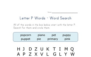 letter p word search