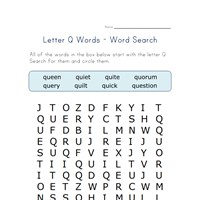 letter q word search