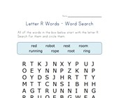letter r word search