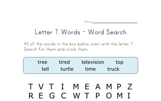 letter t word search