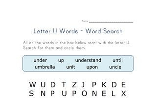 letter u word search
