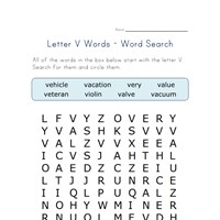 letter v word search