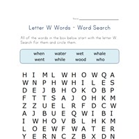 letter w word search