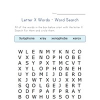 letter x word search