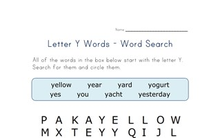 letter y word search