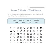 letter z word search