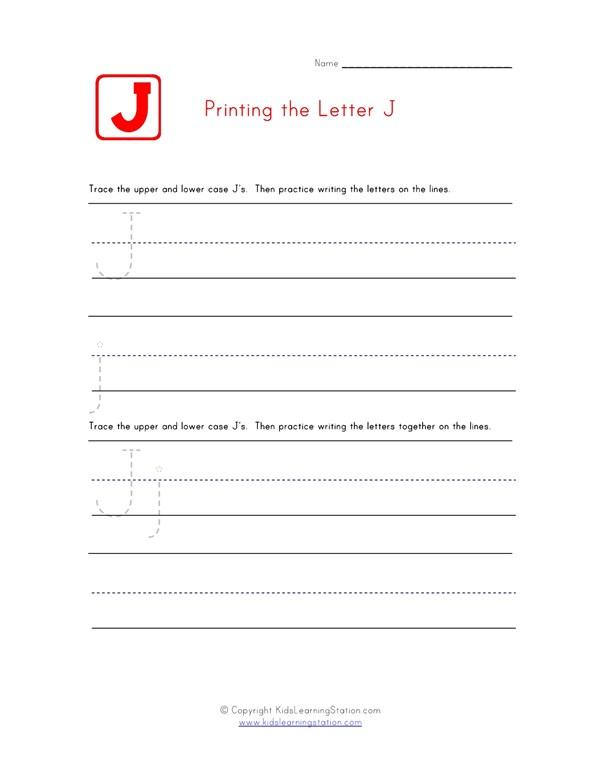 Practice Printing Alphabet Worksheet Letter J All Kids Network