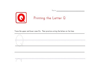 Alphabet Worksheet Letter Q