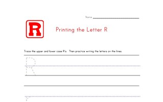 Alphabet Worksheet Letter R