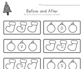 Christmas Before and After Alphabet Worksheet