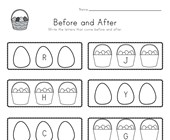 Easter Before and After Alphabet Worksheet