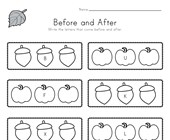 Fall Before and After Alphabet Worksheet
